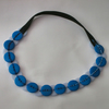 Blue button hairband/necklace