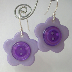 Lilac flower button and sterling silver earrings