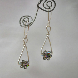 Crystal beaded bead and sterling silver earrings