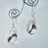Glass drop and sterling silver earrings