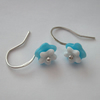 Glass flower and sterling silver earrings