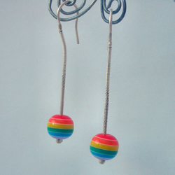 Rainbow bead dangly earrings
