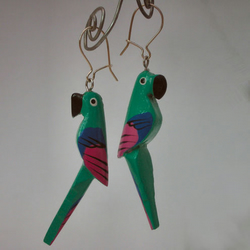 Colourful parrot earrings