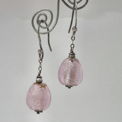 Pink glass beads and sterling silver earrings