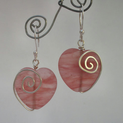 Pink frosted heart and sterling silver earrings