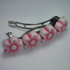 Pink and white flower bead hair clip