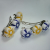 Pair of yellow and purple flower bead hair clips