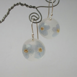 Forget me not, resin and sterling silver earrings
