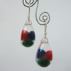 Colourful pom pom, resin and sterling silver earrings