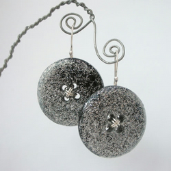 Black and silver glittery resin buttons and sterling silver earrings