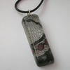 Black and red lace scrap in resin and sterling silver pendant