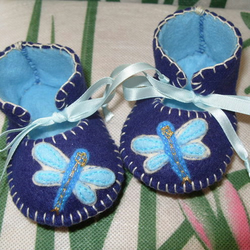 BEAUTIFUL AND UNIQUE ROYAL BLUE AND LIGHT BLUE BABY BOOTIES WITH CUTE DRAGONFLY MOTIFS ON THEIR FRONT-HAND-STITCHED