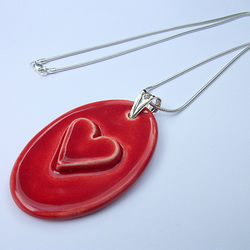 Now on Sale - Large red heart ceramic pendant on sterling silver snake chain