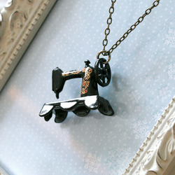 mini sewing machine necklace