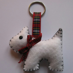 Angus the Westie dog felt keyring