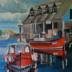 SALE Mevagissy Harbour Acrylic Painting