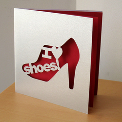 'I love Shoes!' Hand Cut Greetings Card