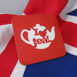 'I ♥ Tea!' Coaster, Red