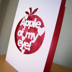 'Apple of my eye' Hand Cut Card