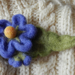 bright blue blossom brooch - needle felted