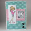 Handmade any occasion card - teenager girl with phone