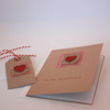 Red heart rustic Valentine's Day card with matching gift tag