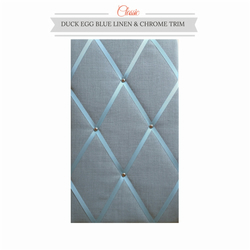 Duck Egg Blue Linen & Chrome Trim, Classic Fabric Notice Board Hangs Portrait
