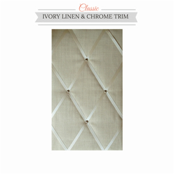 Ivory Linen & Chrome Trim, Classic Fabric Notice Board Hangs Portrait