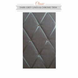 Dark Grey Linen & Chrome Trim, Classic Fabric Notice Board Hangs Portrait