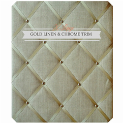 Gold Linen & Chrome Trim, X-Large Fabric Notice Board Hangs Portrait