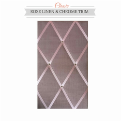 Pink Linen & Chrome Trim, Classic Fabric Notice Board Hangs Portrait