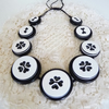 FY-095 BLACK AND WHITE - VINTAGE BUTTONS HANDMADE NECKLACE