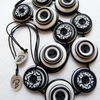 FY111 - BLACK AND WHITE - MODERN BUTTONS HANDMADE NECKLACE