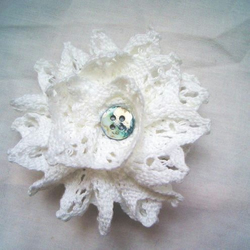 Fabric Flower Brooch & Hair Clip 'Antique Style Lace'