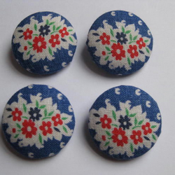 Set of  4 Buttons (29mm) Covered with Vintage 1940s Cotton Feedsack Fabric