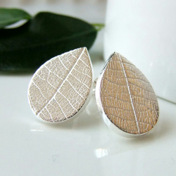Silver Leaf Earrings, Teardrop silver leaf studs