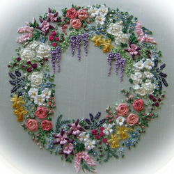 Garland of Silk Ribbon flowers - Pattern and Print embroidery kit