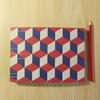 A5 Hand Made Sketchbook with Block Pattern in Red and Navy Blue