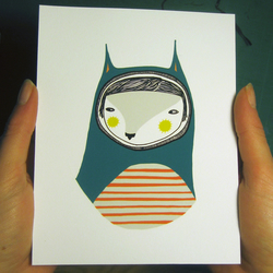 Teal and Orange Striped Cat Mini Print