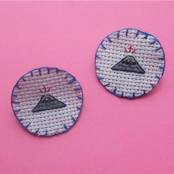 Little VOLCANO Cross Stitch Brooch