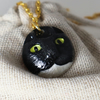 Black and white cat necklace, cat pendant