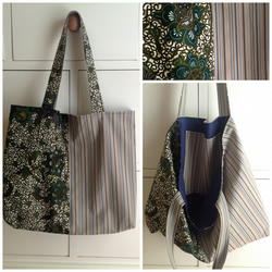 Navy flower two tone cotton tote bag