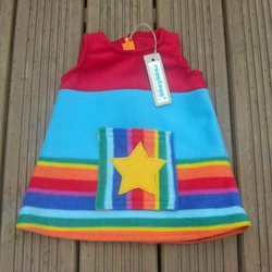 PINAFORE DRESS - Rainbow Star - 6-12Mnth