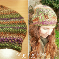 Pixie Crochet Hat, Needle Felted, Slouch Hat, beanie, Elf, Pixie, Forest Rainbow