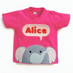 Organic Baby Elephant T-Shirt : Baby Girl Personalised Elephant T-Shirt