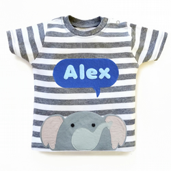 Personalized Baby Elephant T-Shirt, Baby Shower Gift, Baby Boy
