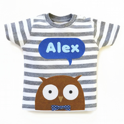 Personalized Baby Owl T-Shirt, Baby Shower Gift, Baby Boy Gift, Baby Boy Shower