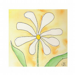 Dainty Daisy - stitched watercolour