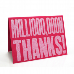 Letterpress Thank-you Card - Pink