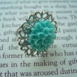 Vintage Style Turquoise Blue Flower Cabochon Filigree Ring